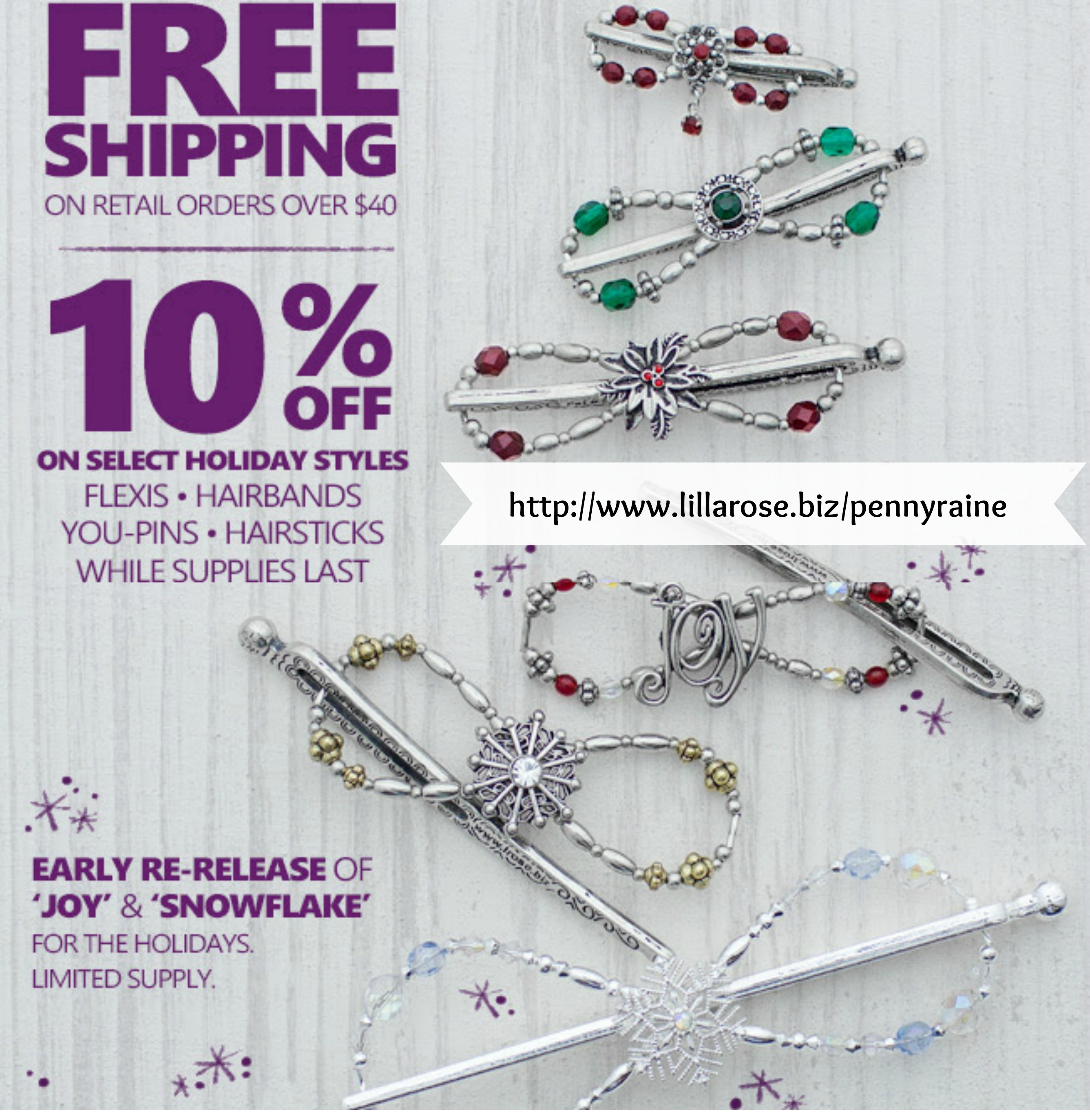 snowflakes and sales and free shipping